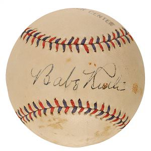 Autographed baseball Babe Ruth RR Auction