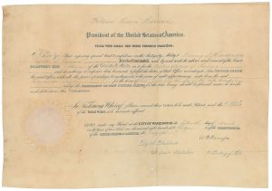 Rare William Henry Harrison presidential appointment document. Sold for $74,938 by RR Auction.