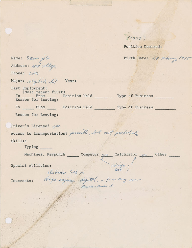 Steve Jobs-signed job application questionnaire 1973 RR Auction