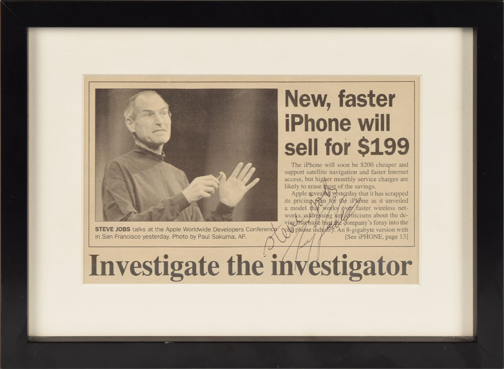 Steve Jobs-signed newspaper article 2008 RR Auction