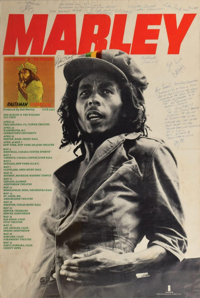 Bob Marley autographed tour poster 1976 RR Auction