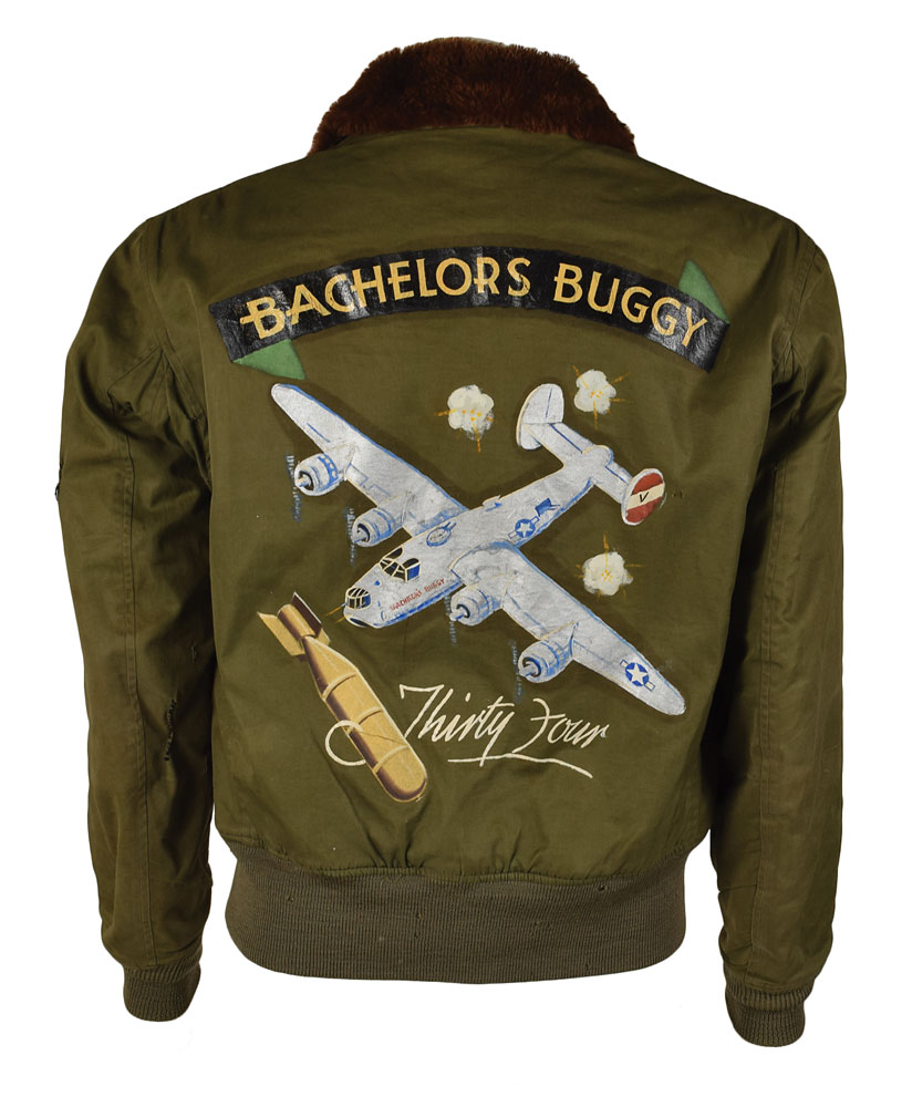 bomber jacket WWII USAAF 8th Air Force B-10 Flight Jacket with painted decorations RR Auction