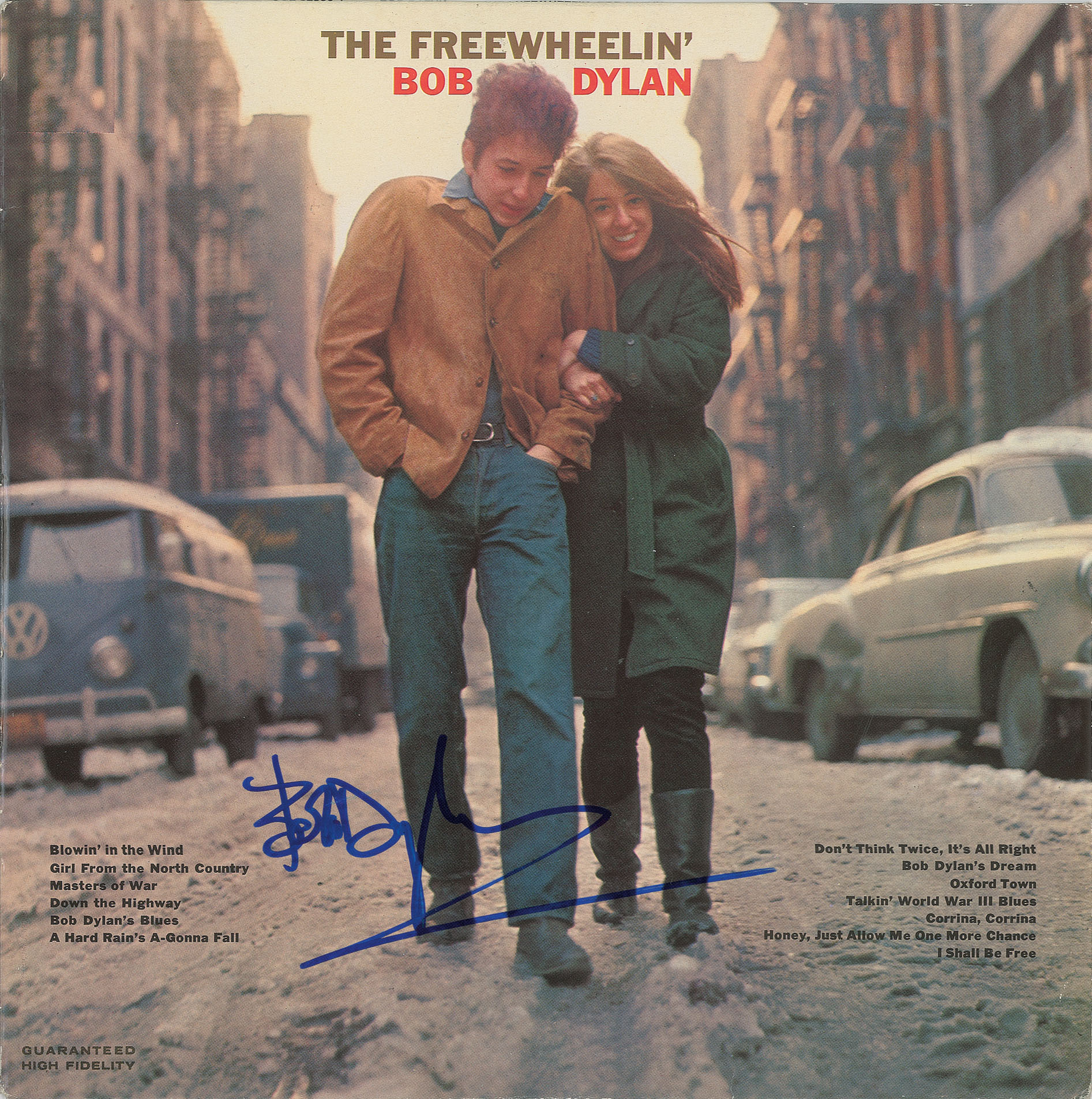 "autograph ""The Freewheelin' Bob Dylan"" album, signed by Bob Dylan John Brennan Collection RR Auction"