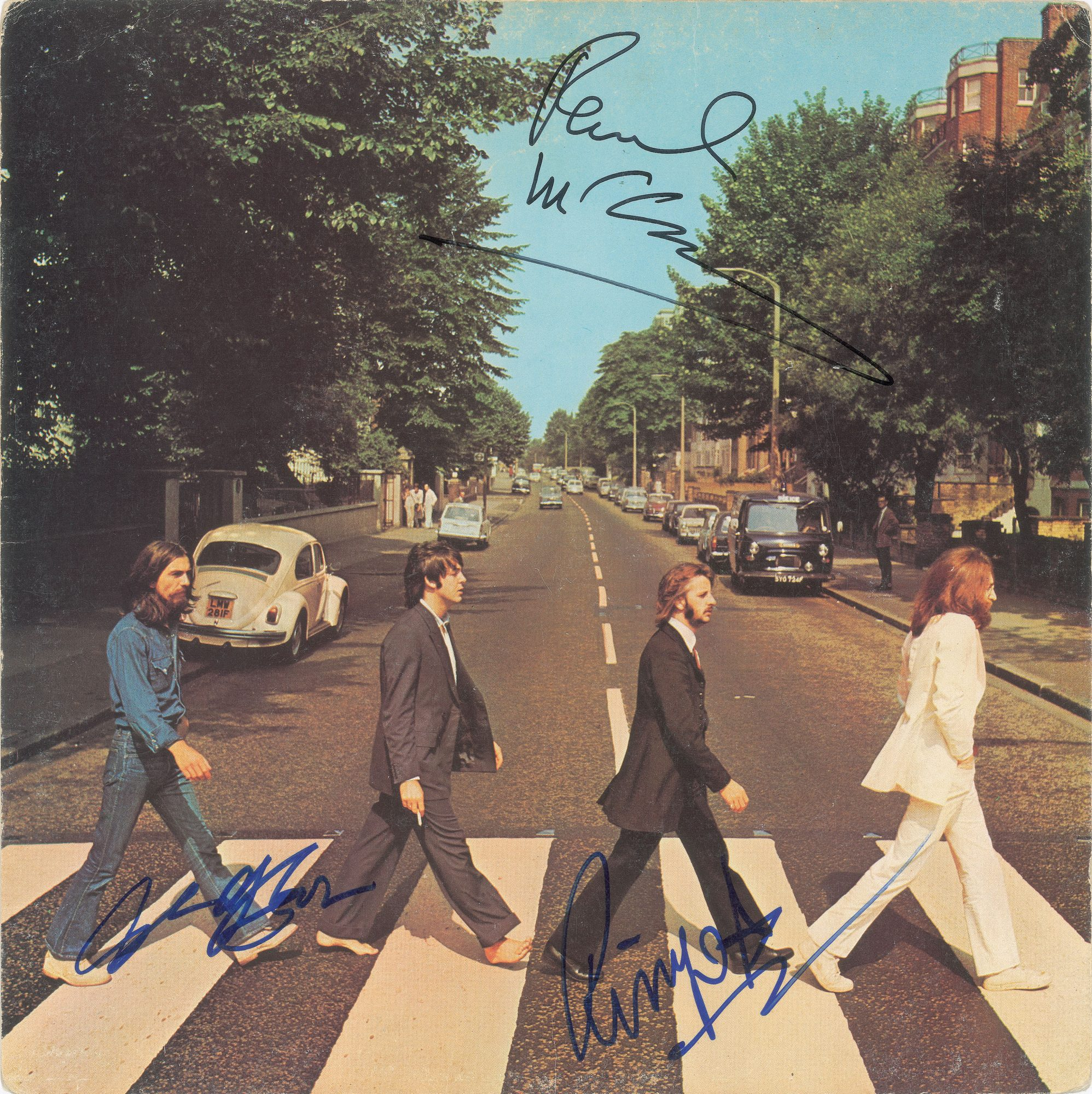"autograph Album flat, Beatles ""Abbey Road"" Signed by George Harrison, Paul McCartney, RIngo Starr John Brennan Collection RR Auction"