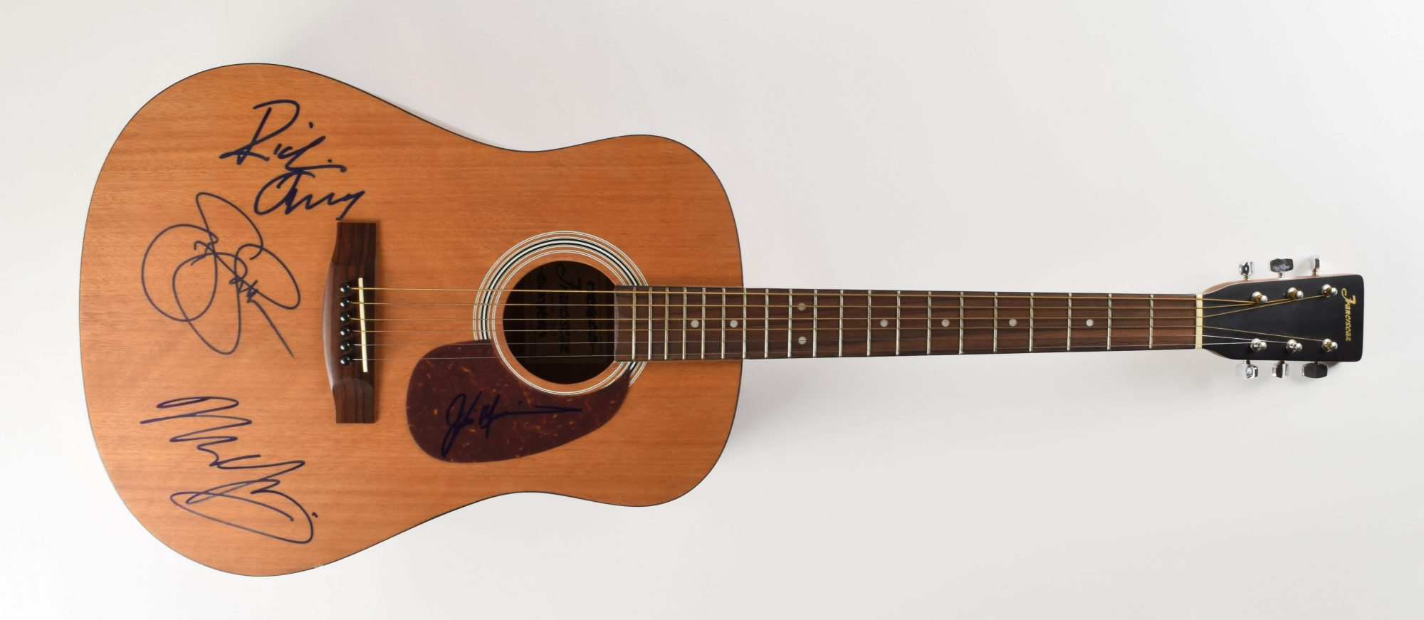 Franciscan natural-finish acoustic guitar autograph Neil Young Stephen Stills Richie Furay Jim Messina John Brennan Collection RR Auction