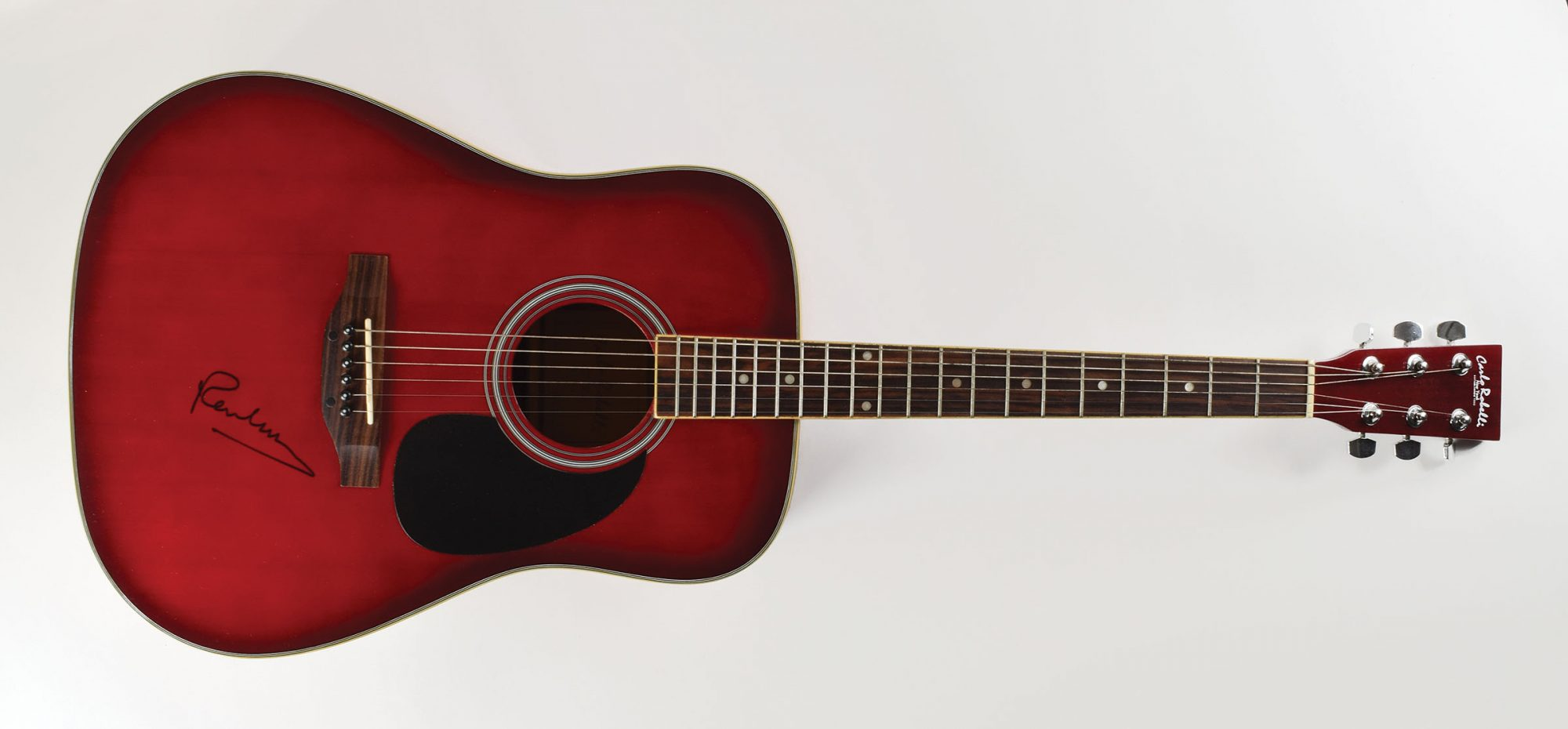 Beatles autograph Carlo Robelli acoustic guitar red sunburst finish Paul McCartney John Brennan Collection RR Auction