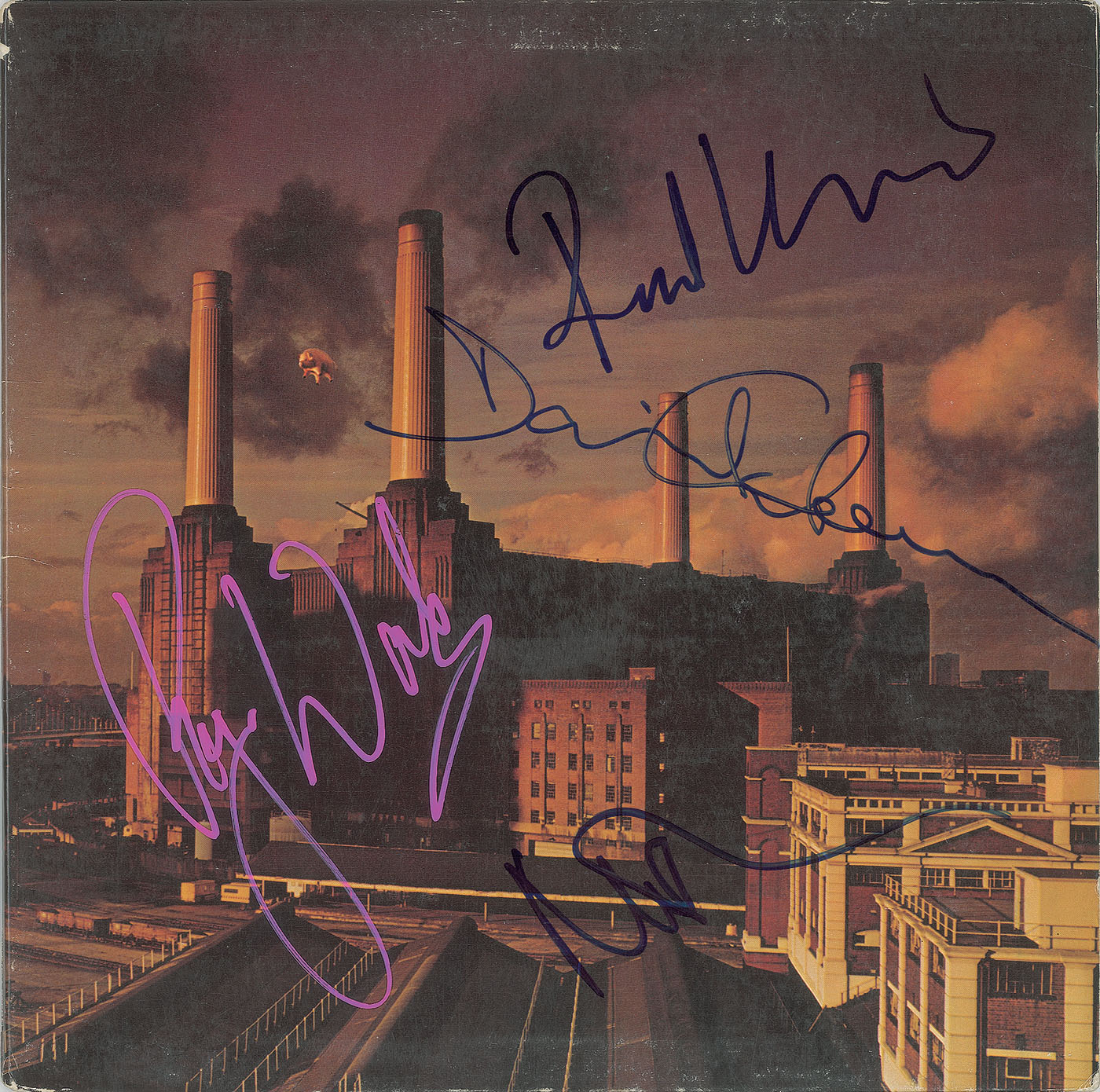 "autograph Pink Floyd ""Animals"" album, signed by Roger Waters, David Gilmour, Nick Mason and Richard Wright John Brennan Collection RR Auction"