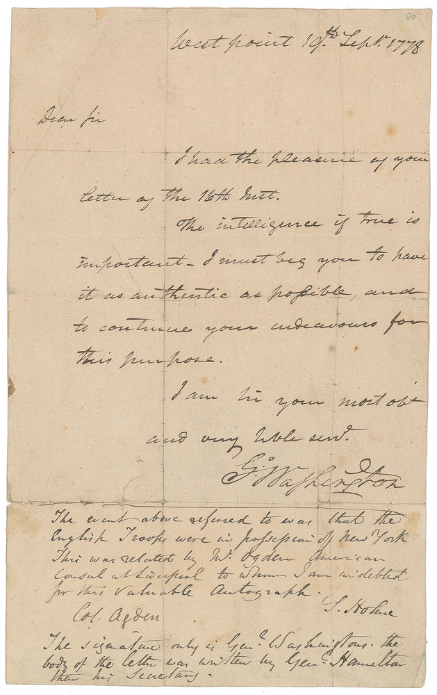 ALS DS Revolutionary War letter signed George Washington RR Auction