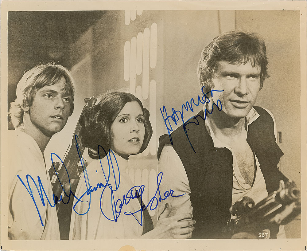 Star Wars vintage glossy photo autograph SP Mark Hamill Carrie Fisher Harrison Ford RR Auction